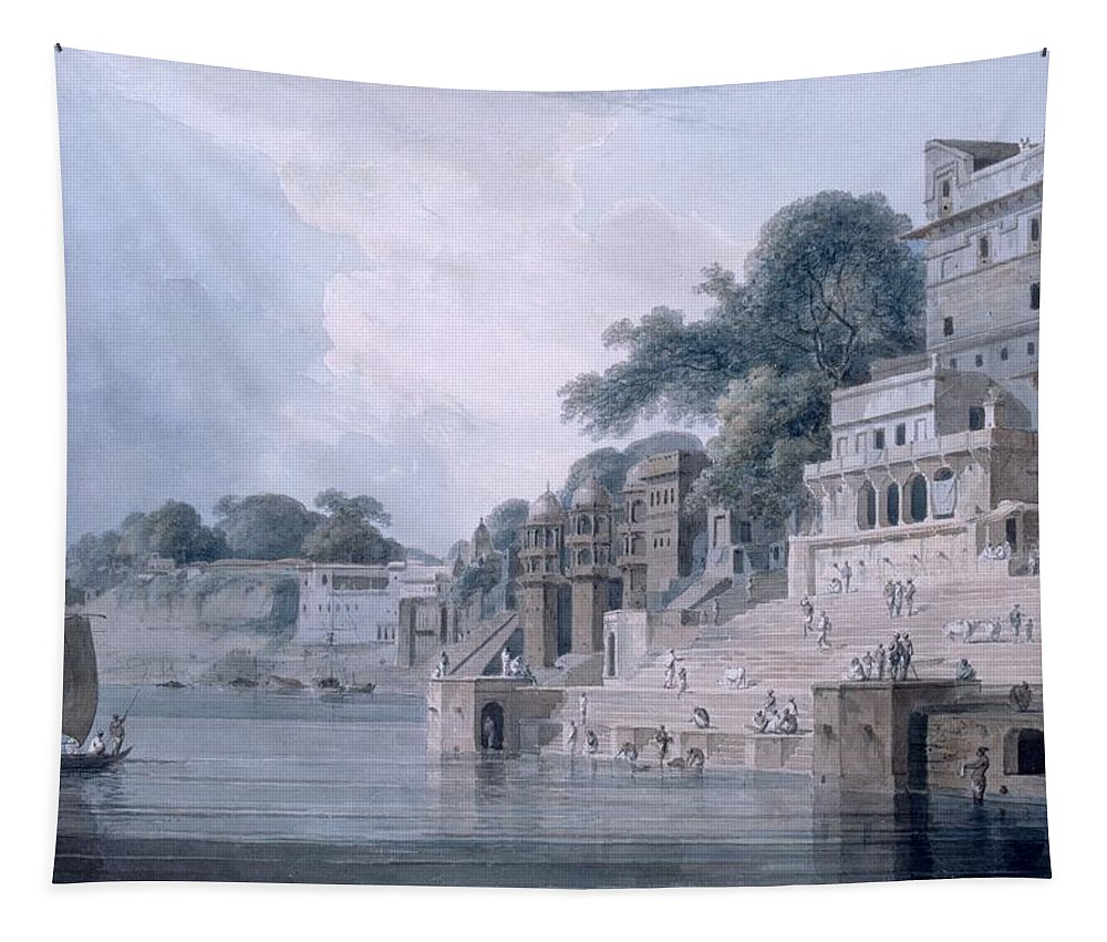 Dasasvamedha Ghat Tapestry featuring the drawing Dasasvamedha Ghat, Benares, Uttar by Thomas & William Daniell