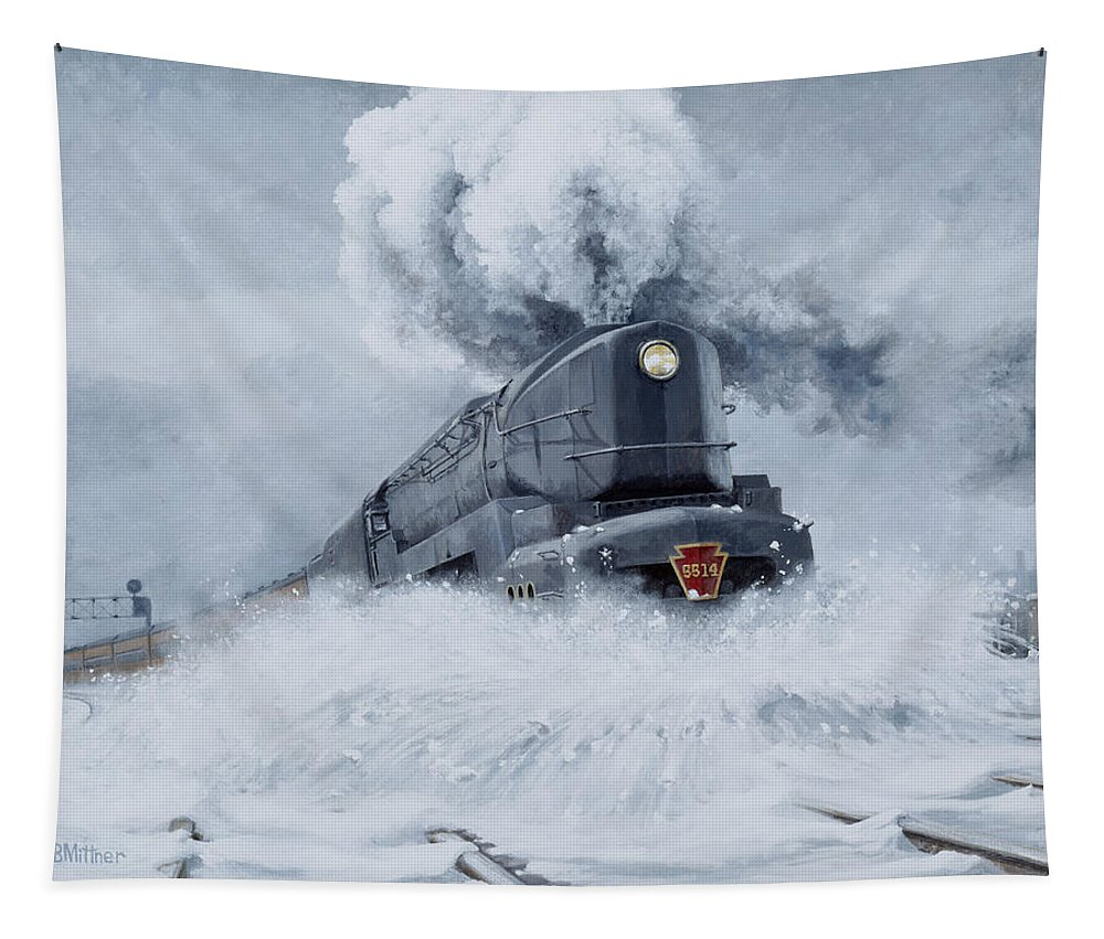 Trains Tapestry featuring the painting Dashing Through the Snow by David Mittner