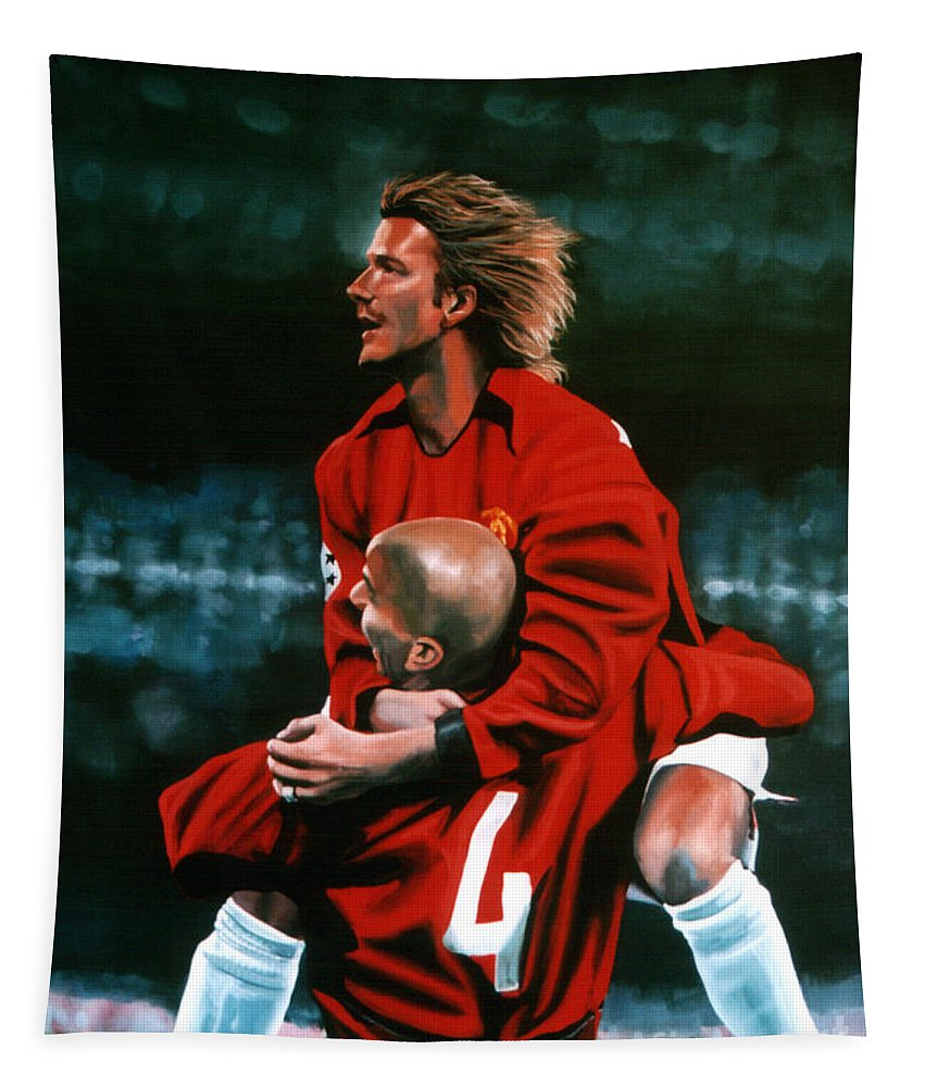 David Beckham Tapestry featuring the painting David Beckham And Juan Sebastian Veron by Paul Meijering