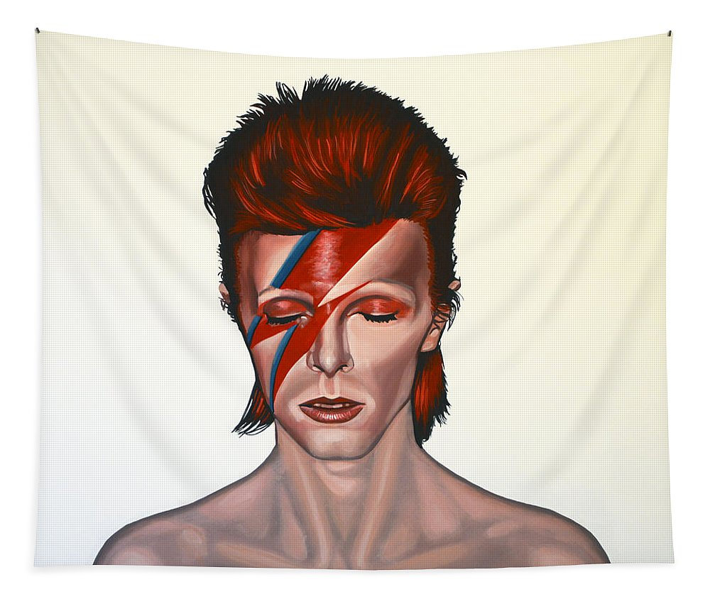 David Bowie Tapestry featuring the painting David Bowie Aladdin Sane by Paul Meijering