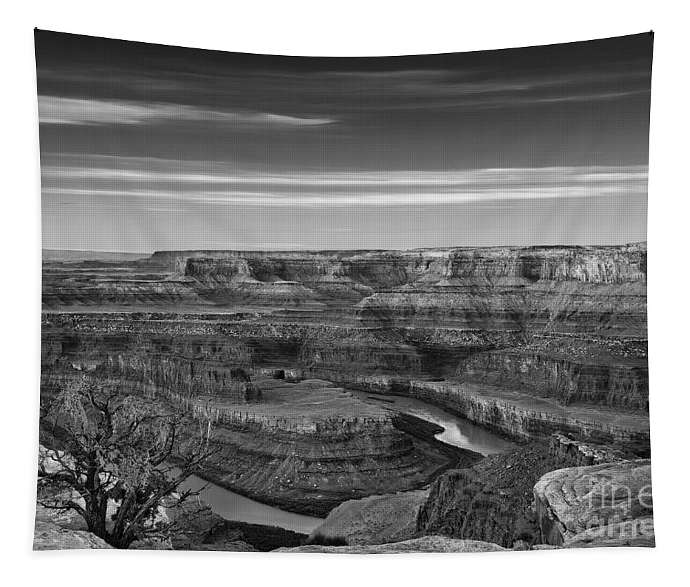 Utah Tapestry featuring the photograph Dawn At Dead Horse Point Bw by Jerry Fornarotto