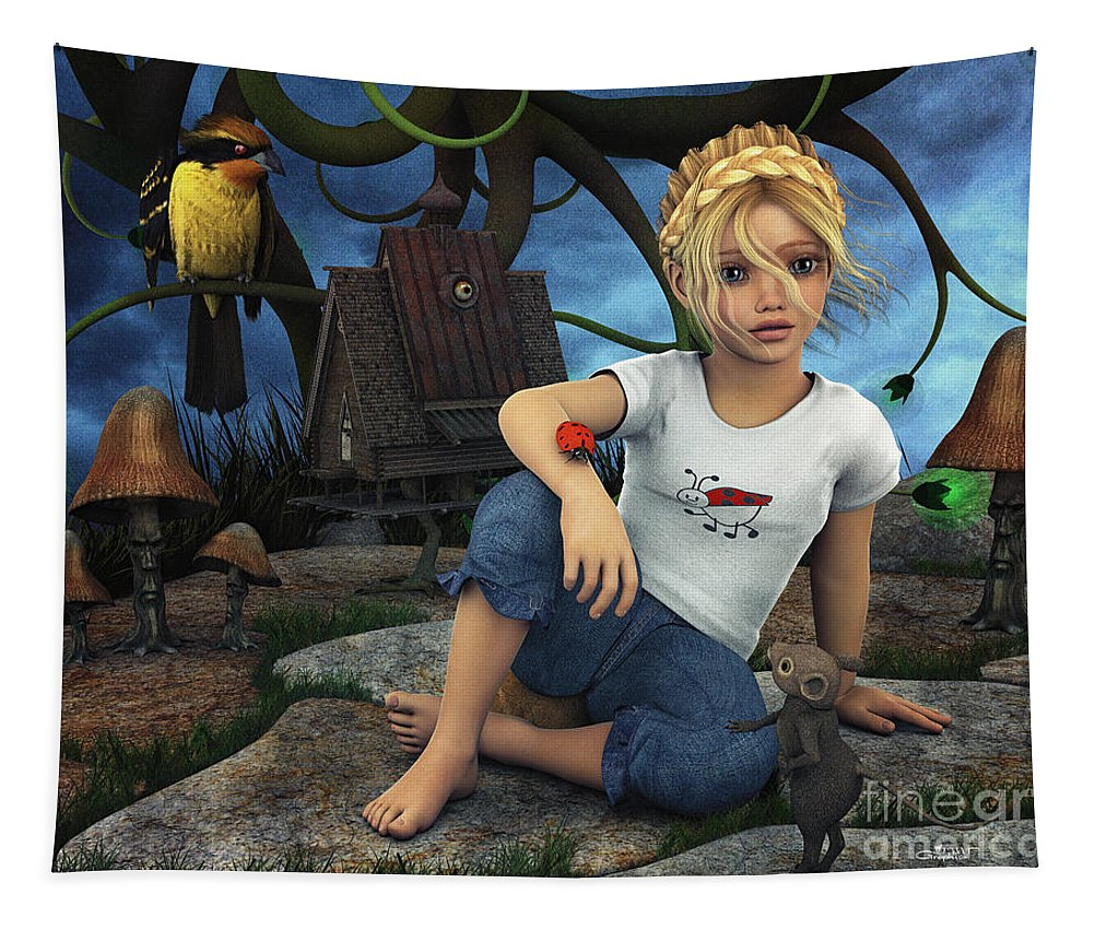 3d Tapestry featuring the digital art Daydreams by Jutta Maria Pusl