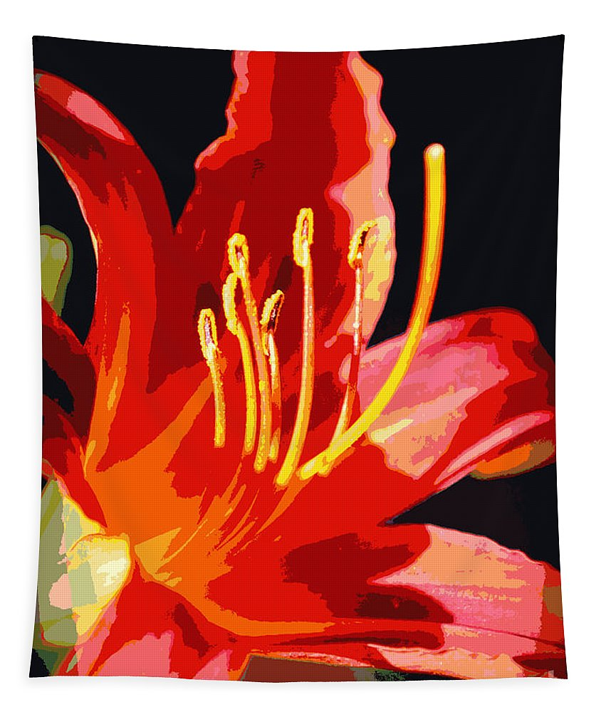 Daylily Tapestry featuring the photograph Daylily Flame by Carol Groenen