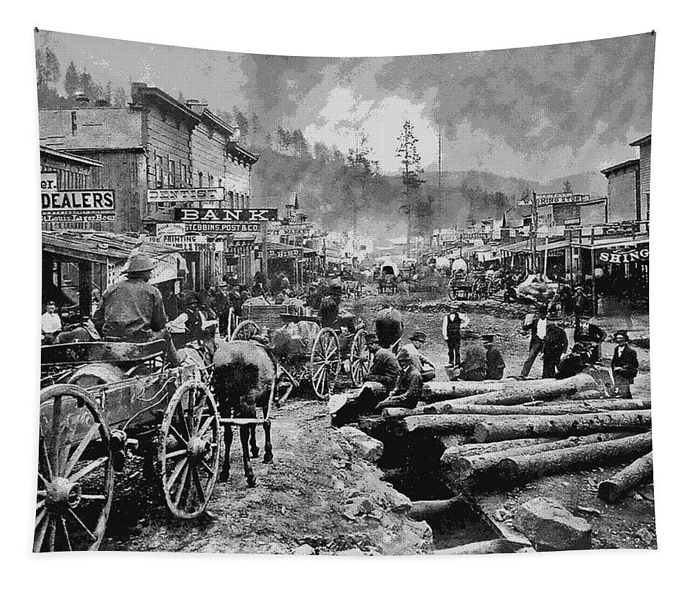 Deadwood Tapestry featuring the digital art Deadwood South Dakota C. 1876 by Daniel Hagerman