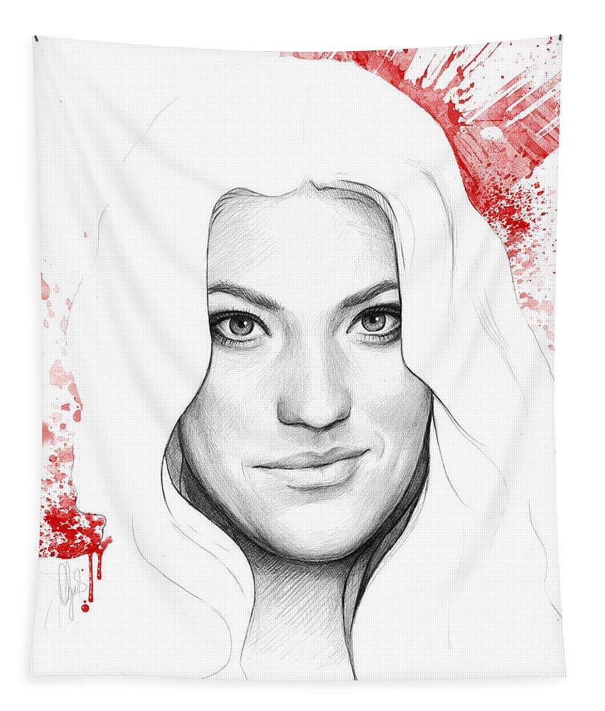 Dexter Tapestry featuring the drawing Debra Morgan Portrait - Dexter by Olga Shvartsur