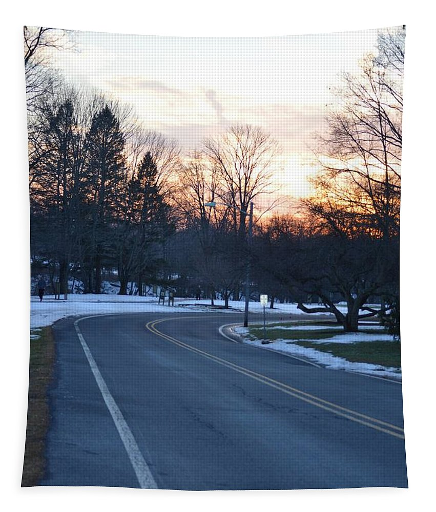 Season Greetings Tapestry featuring the photograph December Sunset by Sonali Gangane