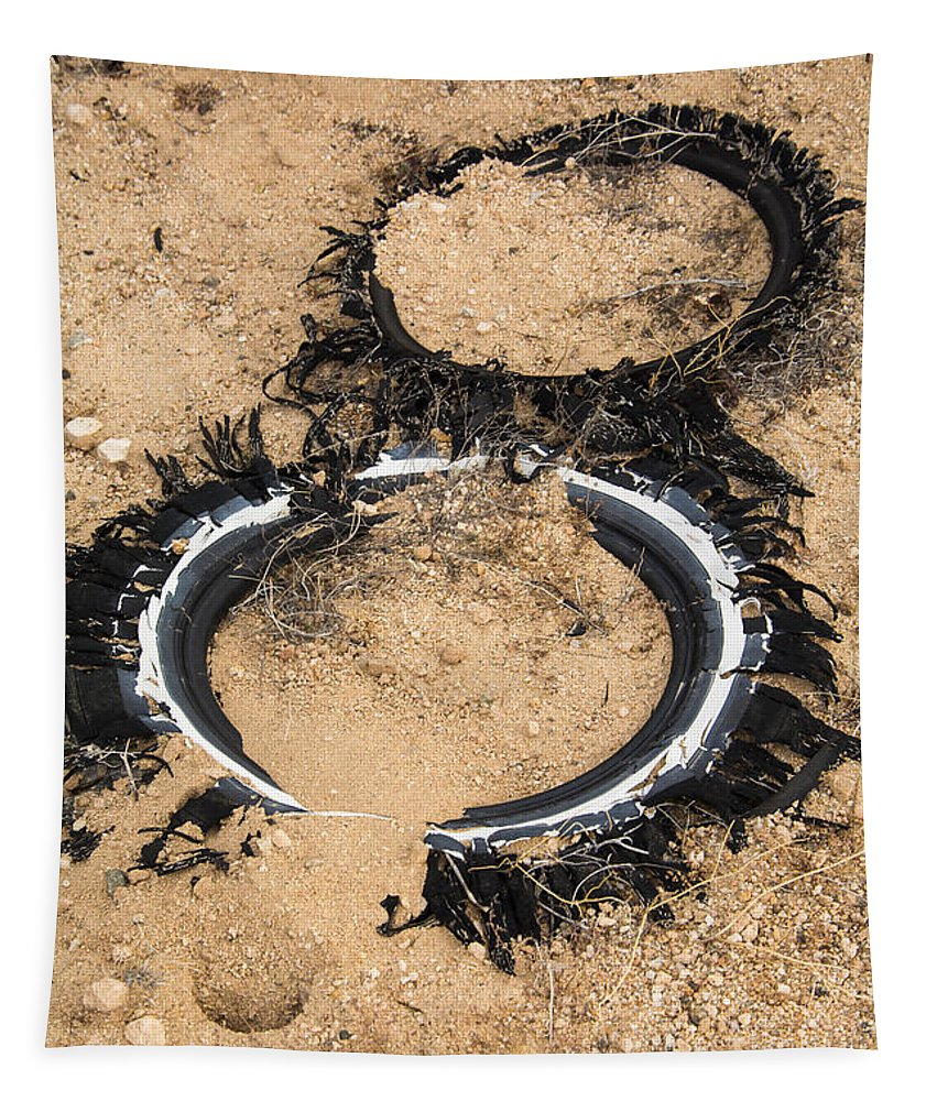 Tires Tapestry featuring the photograph Decomposing Tires by Robert VanDerWal
