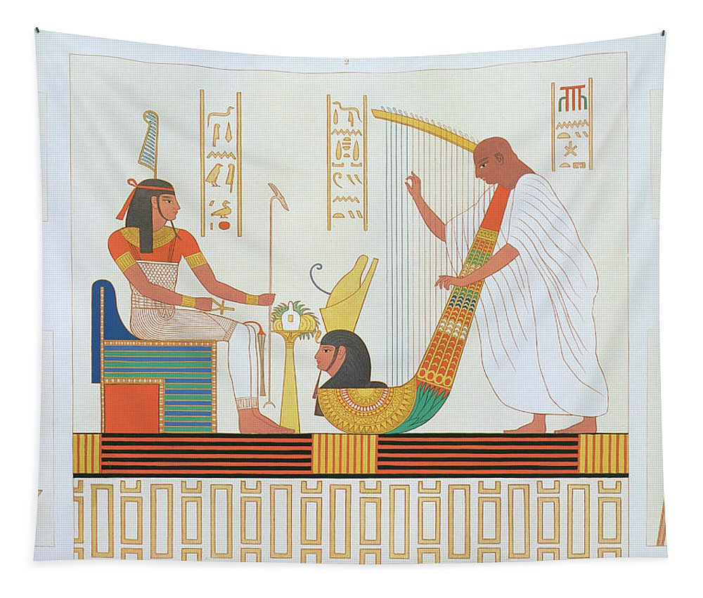 Napoleon's Survey Of Egypt Tapestry featuring the drawing Decoration From The Room Of The Harps by Andre Dutertre