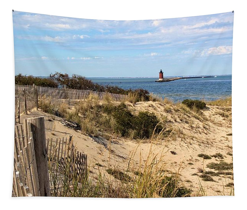 Water Tapestry featuring the photograph Delaware Breakwater East End Light by Robert McCulloch