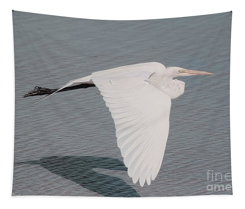 Egret Tapestry featuring the photograph Delicate Wings In Flight by Deborah Benoit