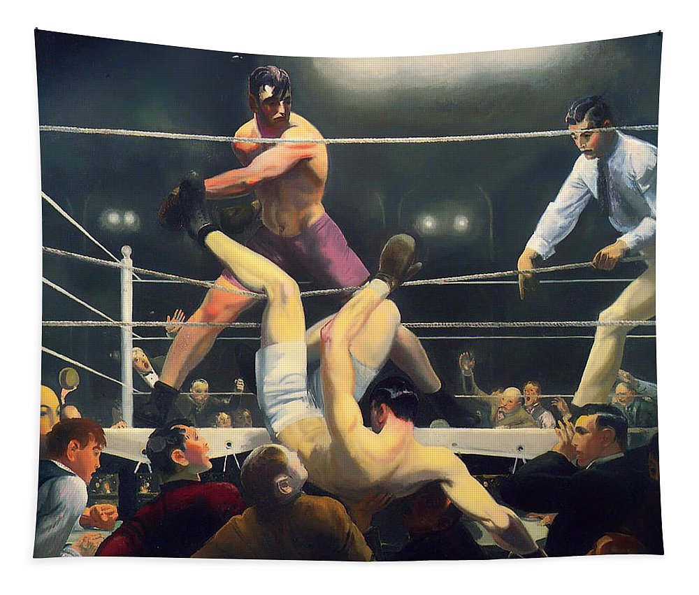 Jack Dempsey Tapestry featuring the painting Dempsey And Firpo by Mountain Dreams
