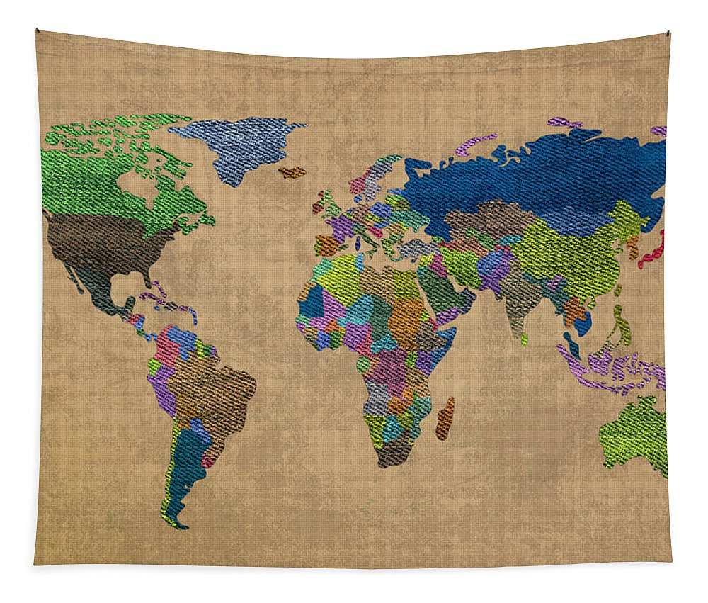 Denim Tapestry featuring the mixed media Denim Map Of The World Jeans Texture On Worn Canvas Paper by Design Turnpike