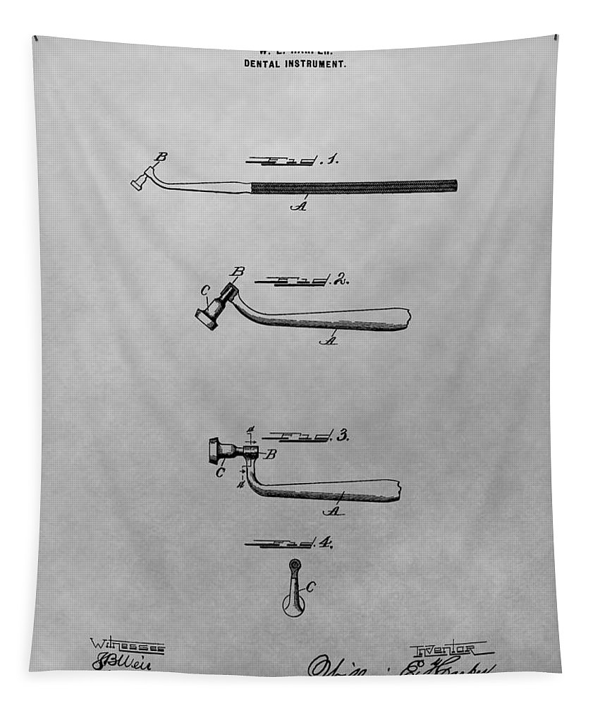 Vintage Dental Instrument Patent Tapestry featuring the drawing Dental Instrument Patent Drawing by Dan Sproul