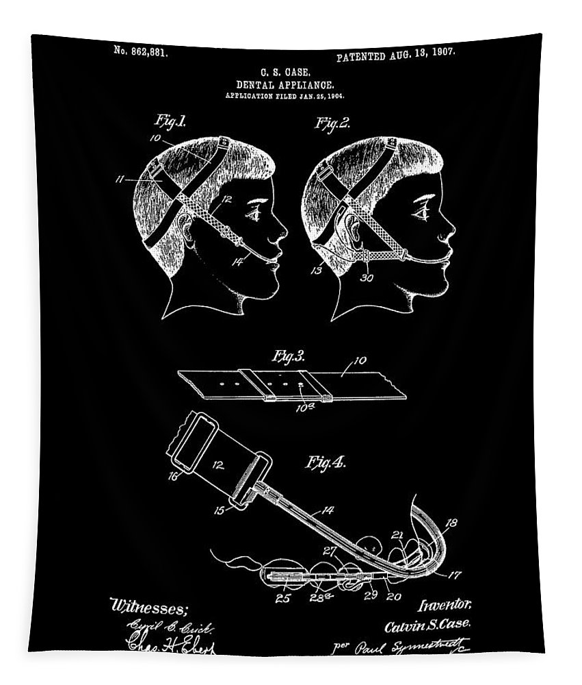 Vintage Braces Patent Tapestry featuring the mixed media Dental Patent Office Art by Dan Sproul