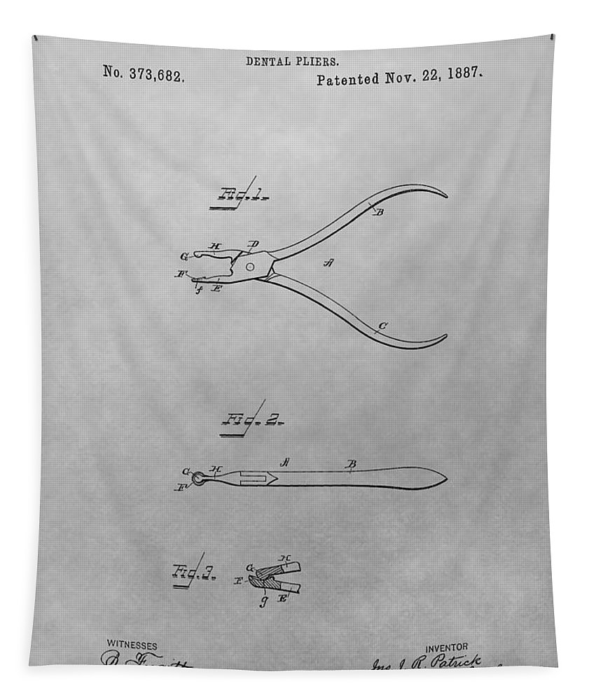 Vintage Dental Pliers Patent Tapestry featuring the drawing Dental Pliers Patent Drawing by Dan Sproul