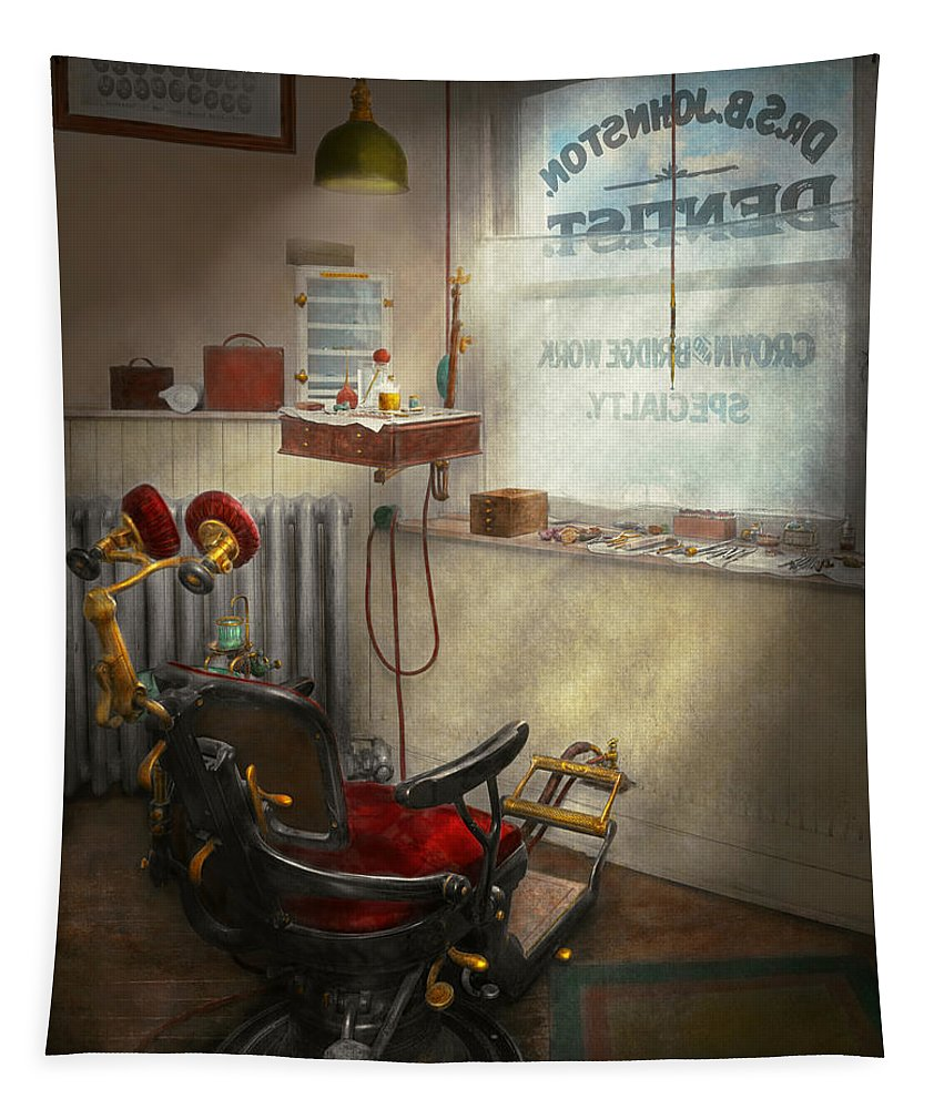 Self Tapestry featuring the photograph Dentist - Sb Johnston Dentist 1919 by Mike Savad
