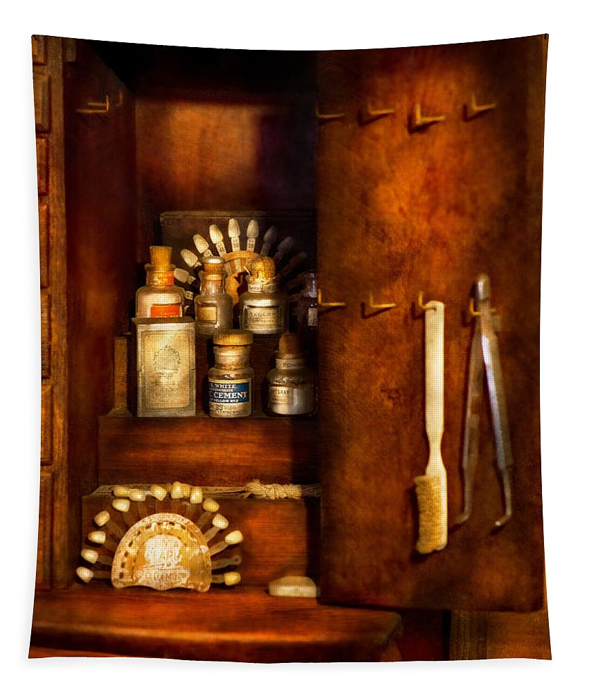 Dentist Tapestry featuring the photograph Dentist - The Dental Cabinet by Mike Savad