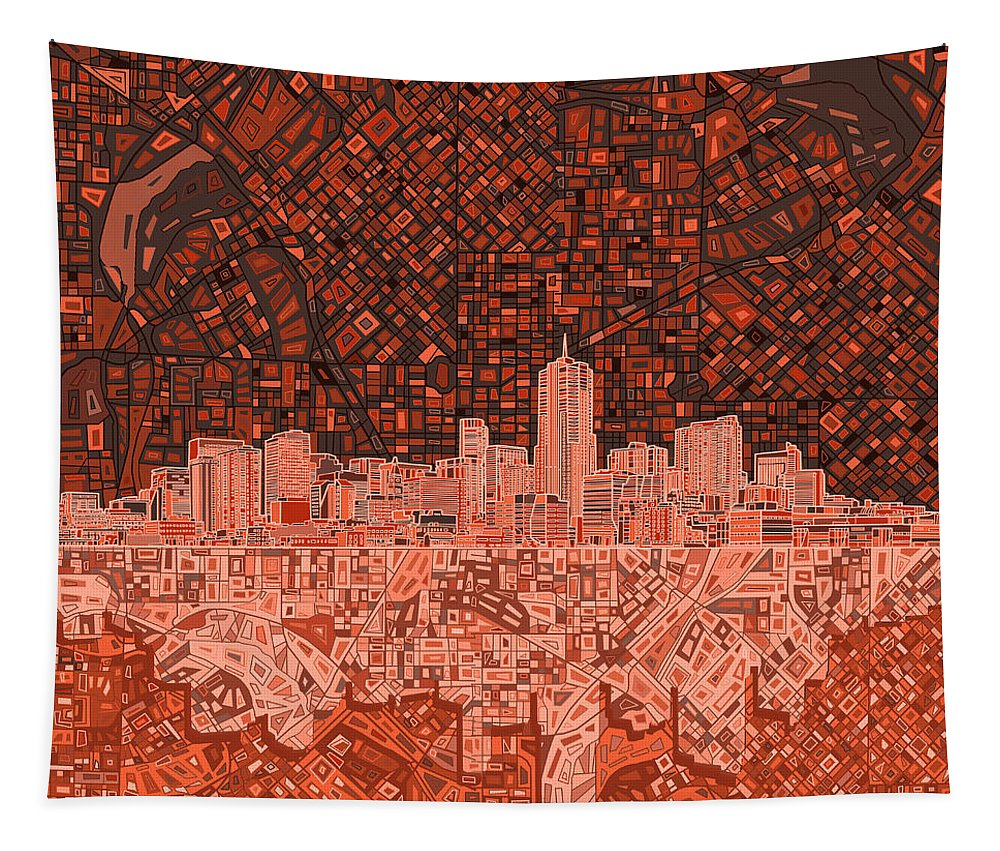 Denver Skyline Tapestry featuring the painting Denver Skyline Abstract 6 by Bekim M