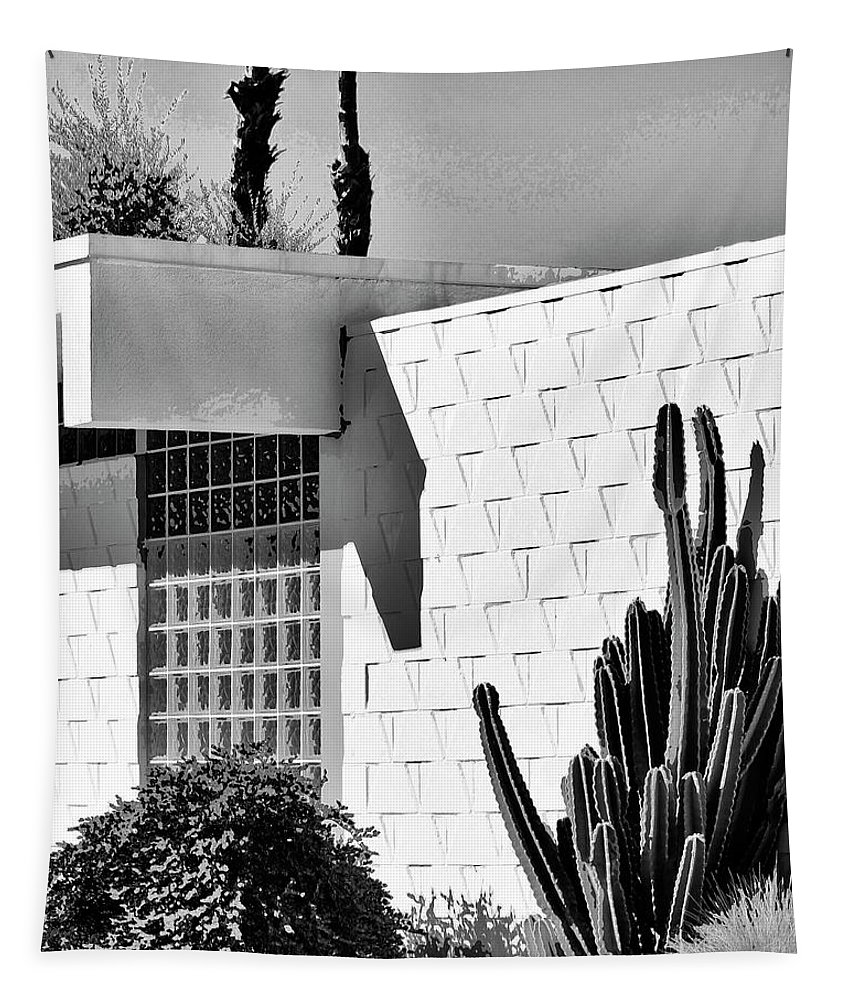7 Lakes Tapestry featuring the photograph Desert Modern Bw Palm Springs by William Dey