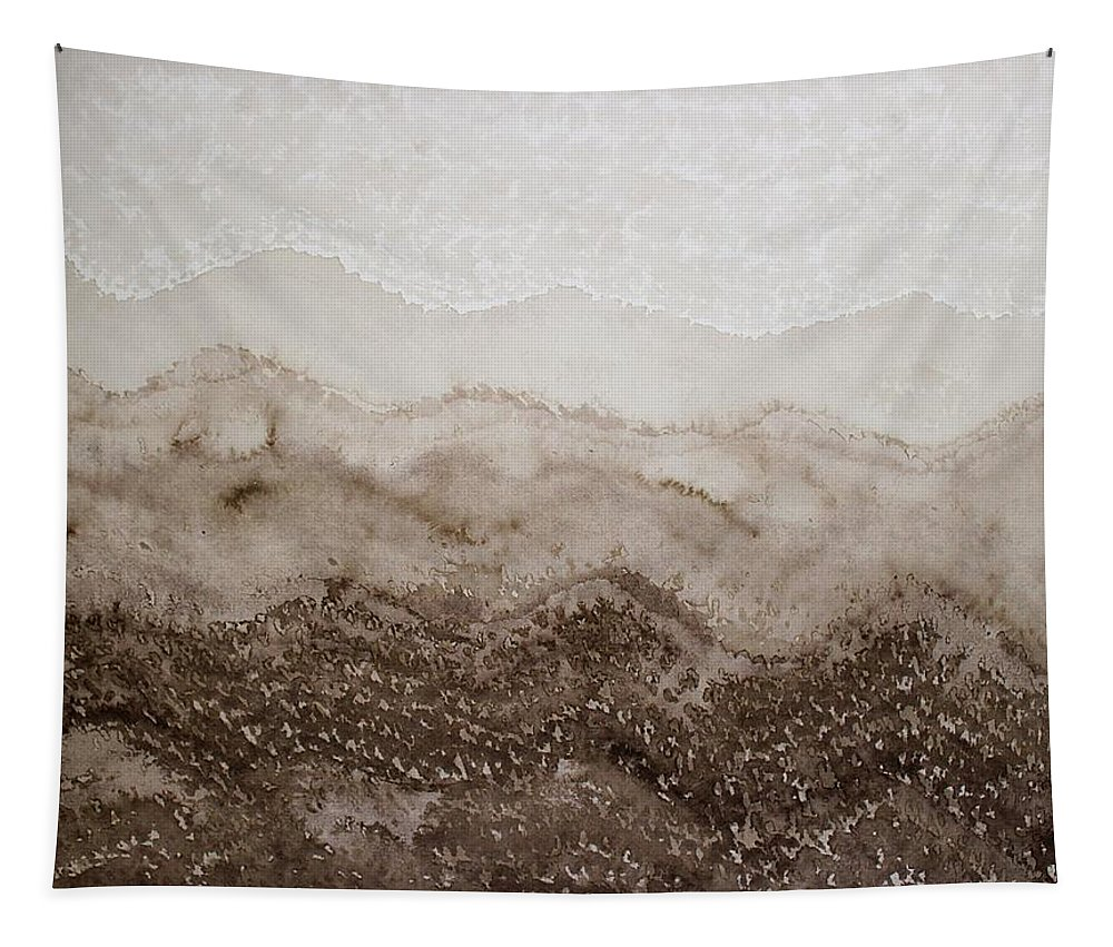 Peninsular Ranges Tapestry featuring the painting Desert Mountain Mist Original Painting by Sol Luckman