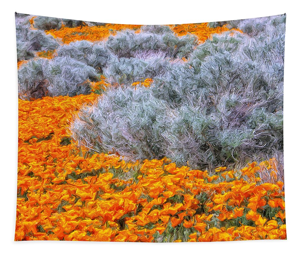 California Poppies Tapestry featuring the painting Desert Poppies And Sage by Dominic Piperata