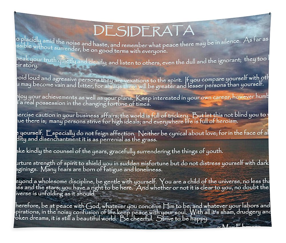 Desiderata Tapestry featuring the photograph Desiderata by HH Photography of Florida
