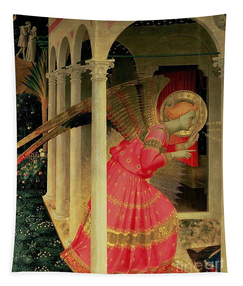 Arcade Tapestry featuring the painting Detail From The Annunciation Showing The Angel Gabriel by Fra Angelico