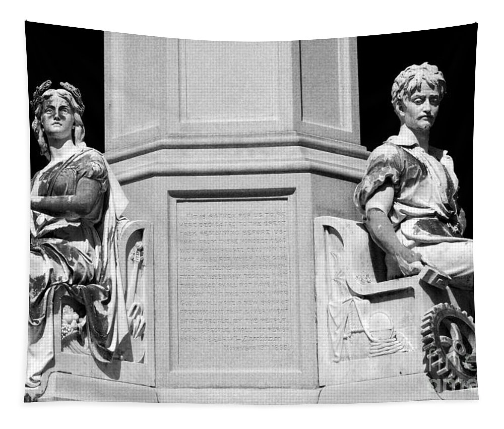 Gettysburg Battlefield Tapestry featuring the photograph Detail Of Monument Statues - Bw by Paul W Faust - Impressions of Light