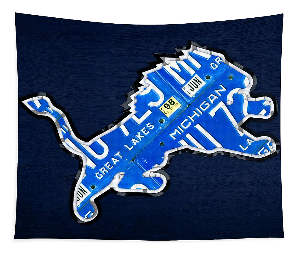 Detroit Lions Football Team Retro Logo License Plate Art License Plate Map Tapestry featuring the mixed media Detroit Lions Football Team Retro Logo License Plate Art by Design Turnpike
