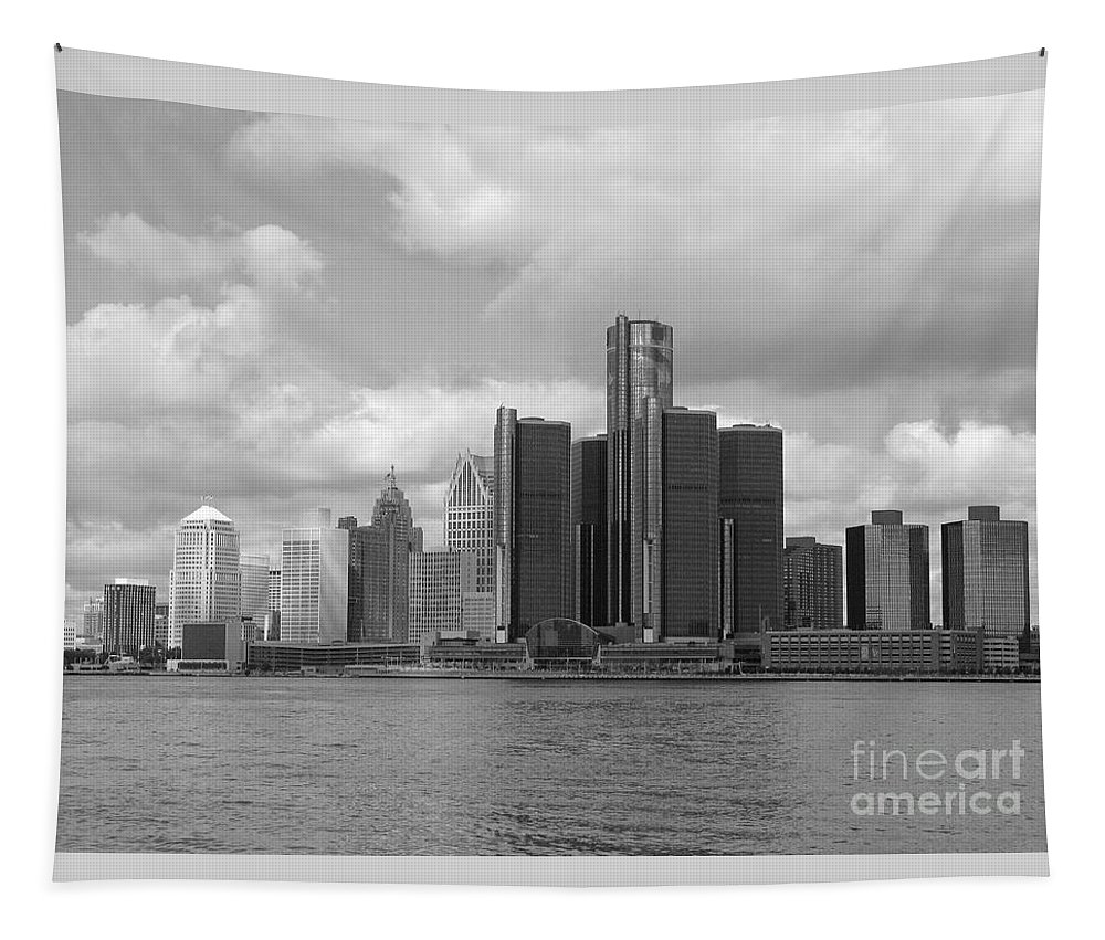 Detroit Tapestry featuring the photograph Detroit Skyscape by Ann Horn