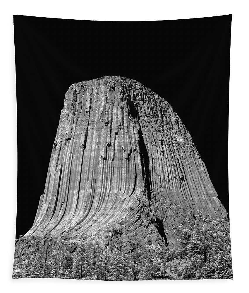 Devils Tower Tapestry featuring the photograph 109851-bw-devil's Tower 2 by Ed Cooper Photography