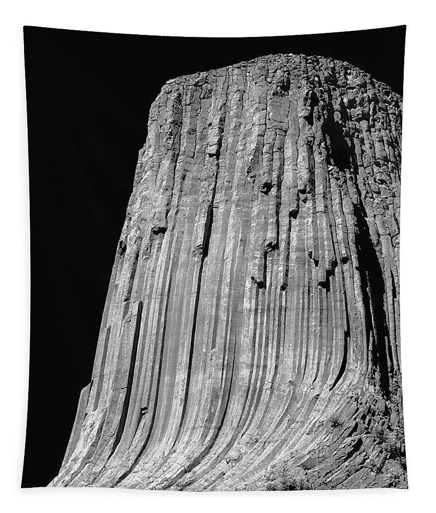 Devils Tower Tapestry featuring the photograph 109851-bw-e-devil's Tower Bw 3 by Ed Cooper Photography