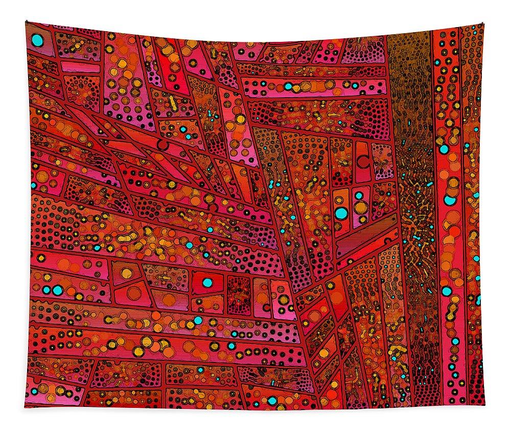 Diagonal Tapestry featuring the digital art Diagonal Tiles In Reds by Joy McKenzie