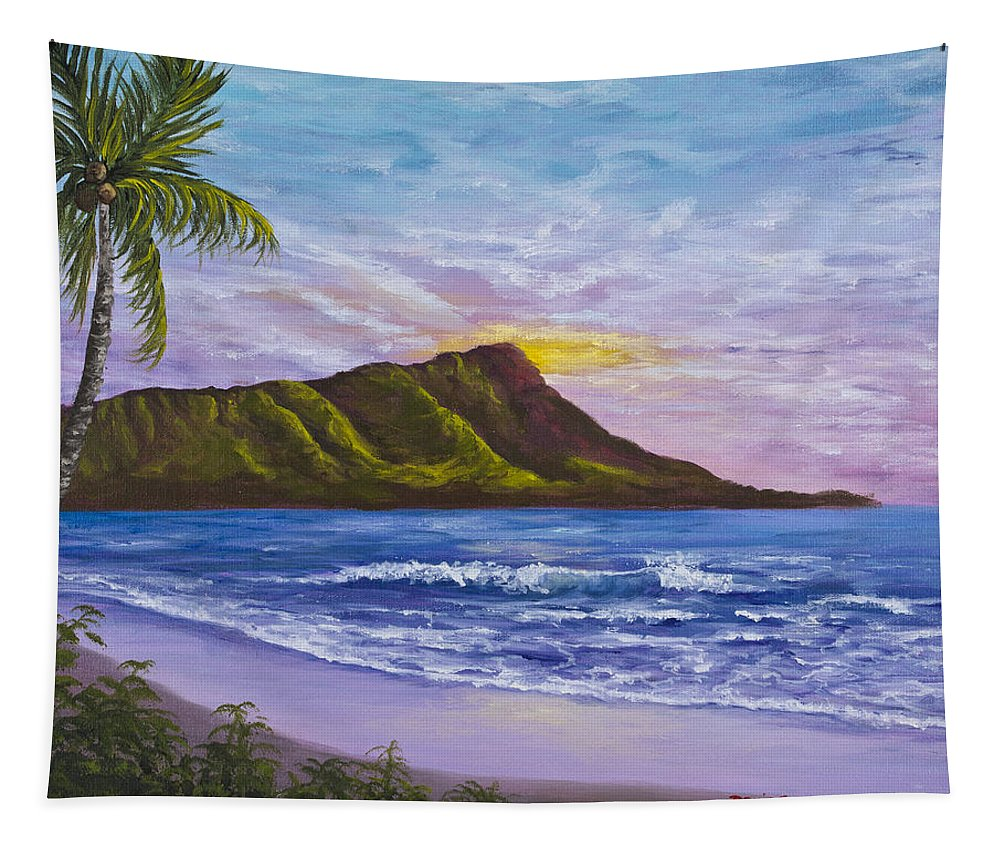 Hawaii Tapestry featuring the painting Diamond Head by Darice Machel McGuire