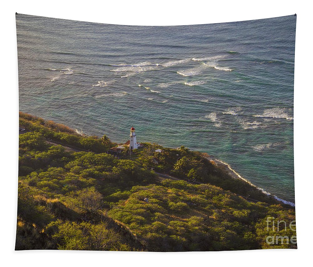 Diamond Head Lighthouse Tapestry featuring the photograph Diamond Head Lighthouse by Mitch Shindelbower