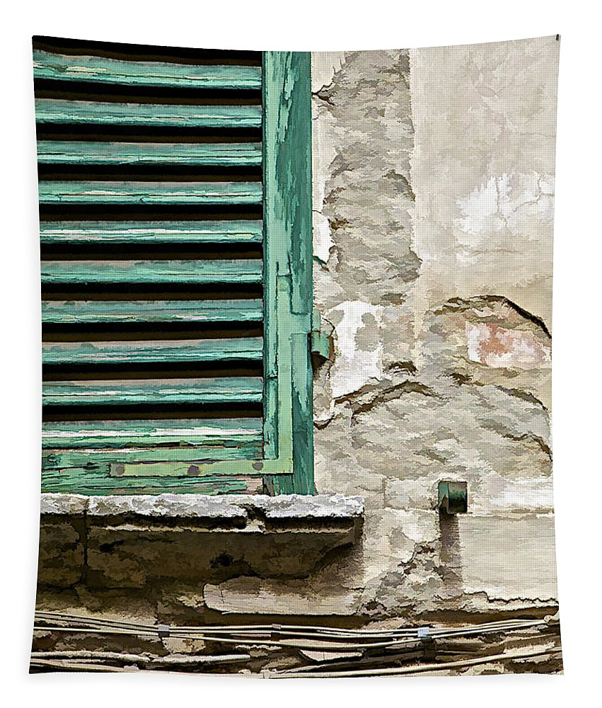 Abandon Tapestry featuring the photograph Dilapidated Green Wood Window Shutter by David Letts