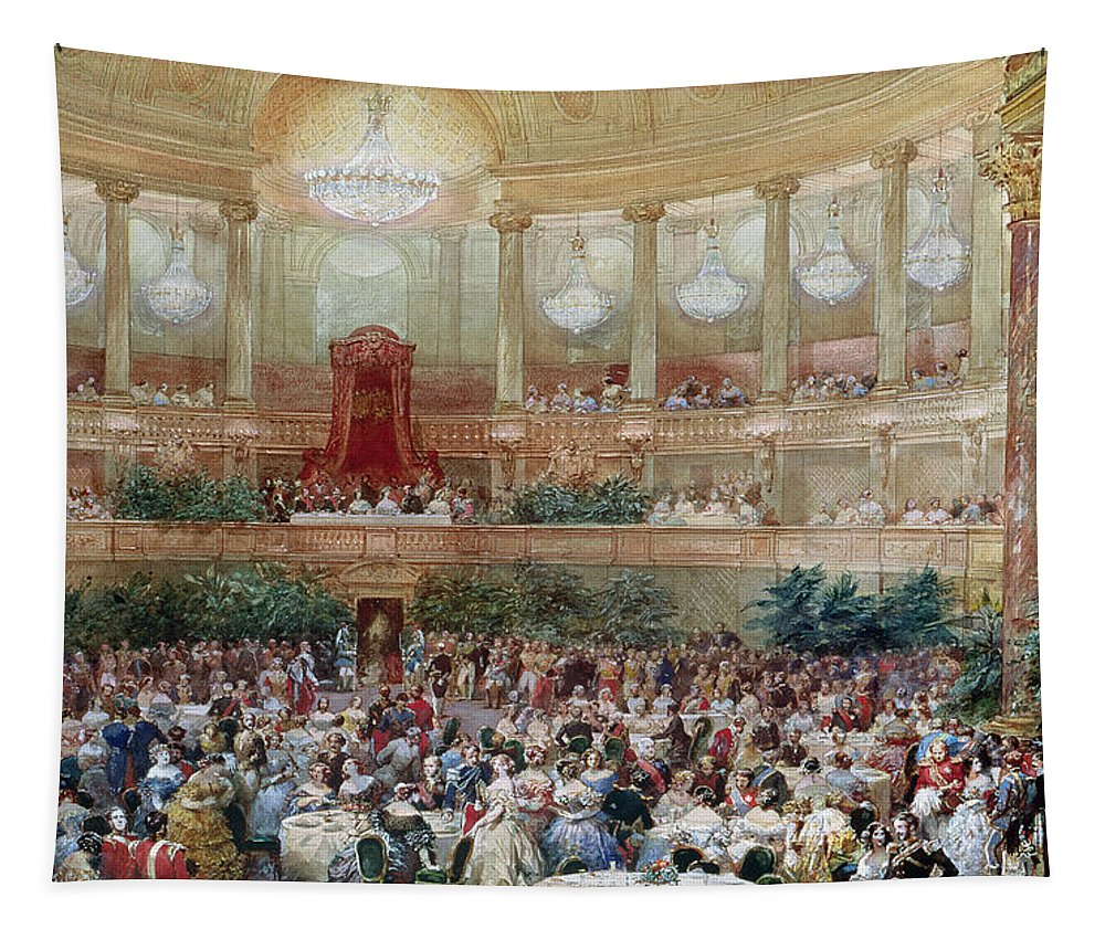 Chandelier; Party; Ball; Canopy; Crowd; Social; Society; Column; Pillar; Second Empire; Napoleon Iii; Louis; Party; Celebration; Royal; Banquet; Aristocratic; Aristocracy; Grand Tapestry featuring the painting Dinner In The Salle Des Spectacles At Versailles by Eugene-Louis Lami