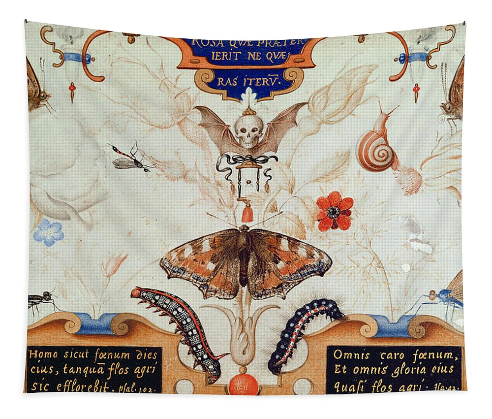 Diptych With Flowers And Insects Tapestry featuring the painting Diptych With Flowers And Insects by Joris Hoefnagel