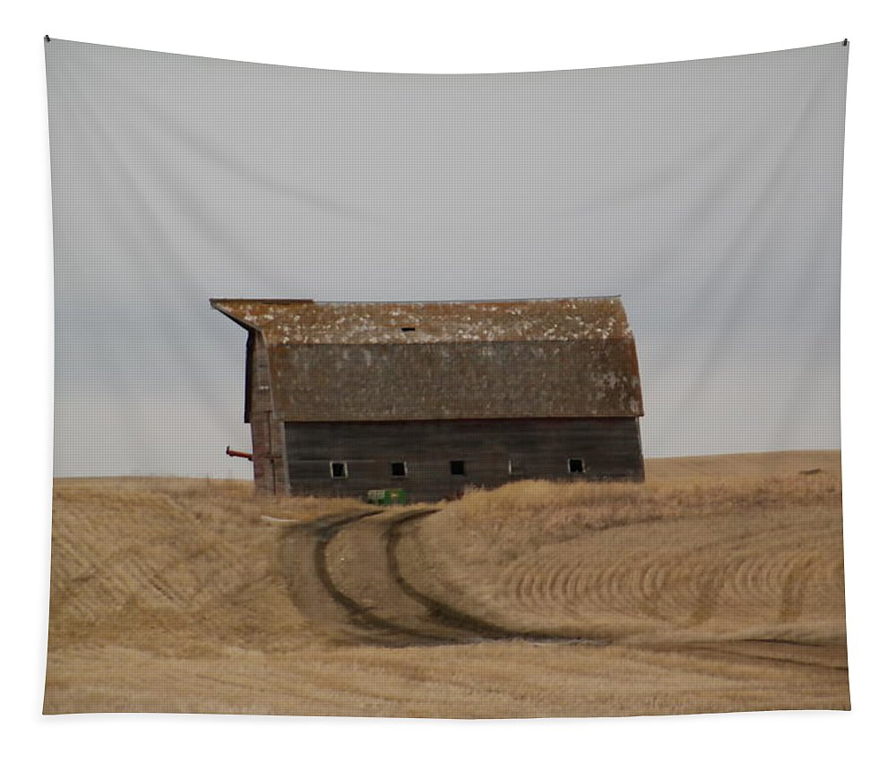 Rural Tapestry featuring the photograph Dirt Road To An Old Leaning Barn by Jeff Swan