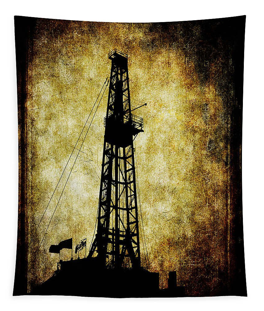 Drilling Tapestry featuring the digital art Dirty Derrick by Daniel Hagerman