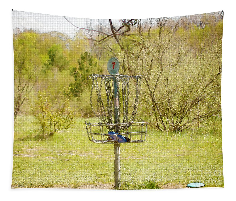 Vintage Tapestry featuring the photograph Disc Golf Basket 7 by Phil Perkins