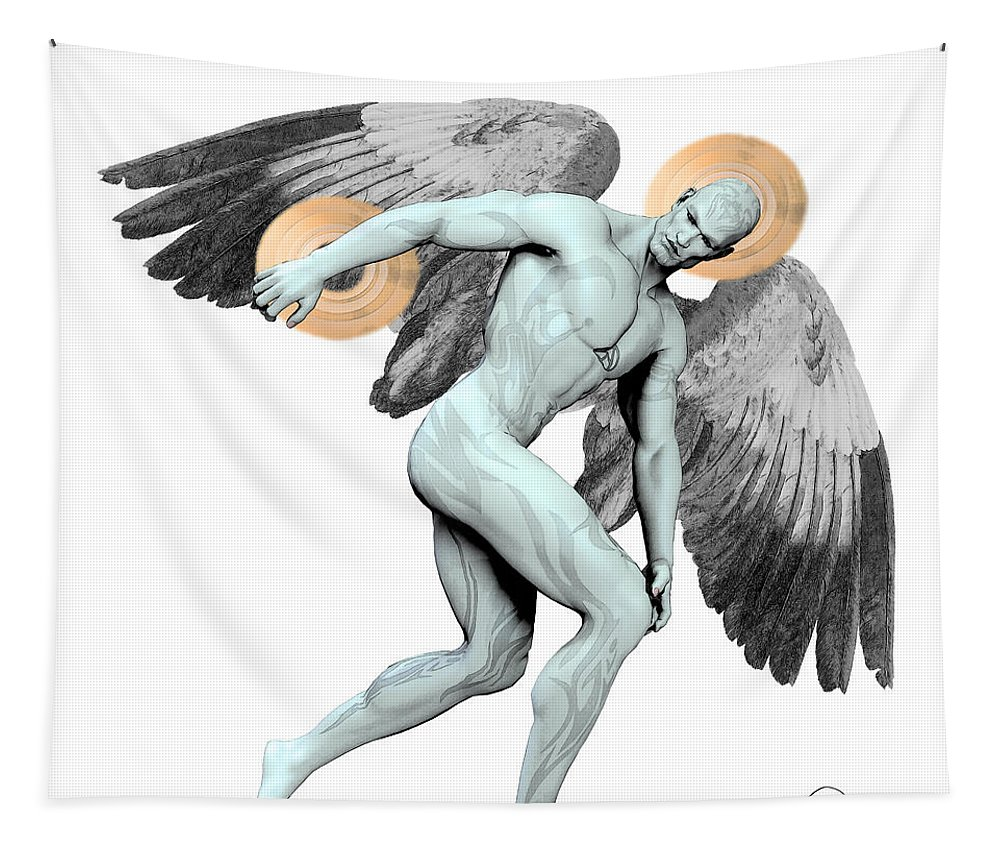 Angel Tapestry featuring the digital art Discus Thrower Angel by Quim Abella
