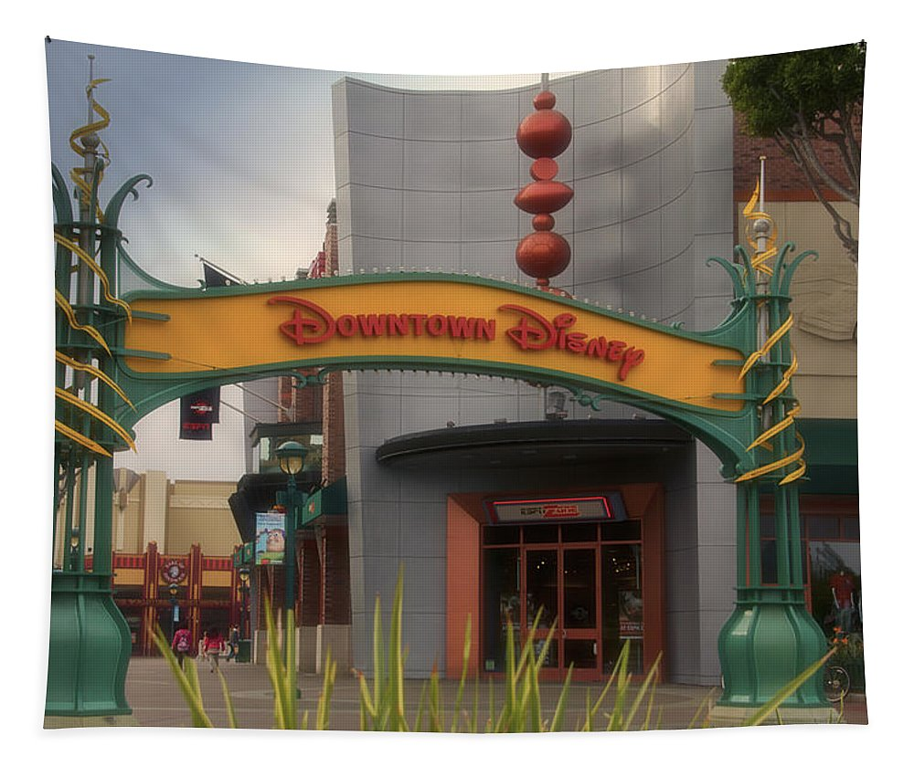 Disney Tapestry featuring the photograph Disneyland Downtown Disney Signage 03 by Thomas Woolworth