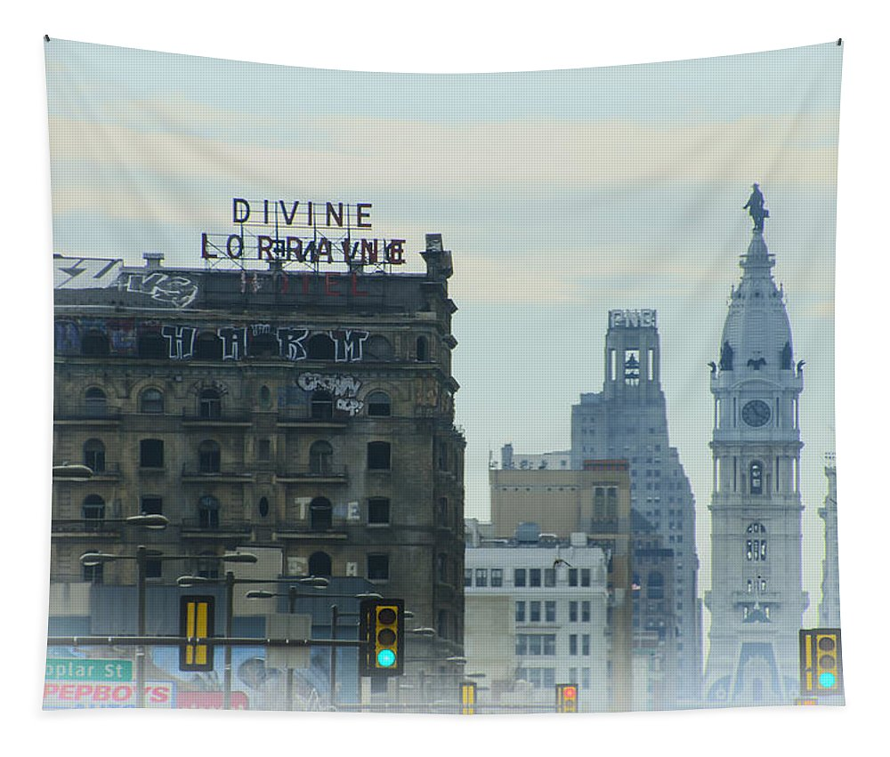 Divine Tapestry featuring the photograph Divine Lorraine And City Hall - Philadelphia by Bill Cannon