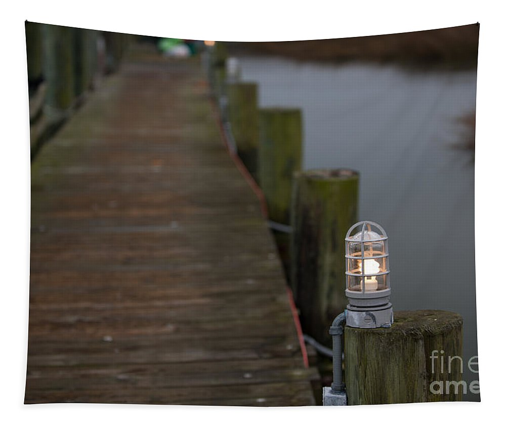 Dock Tapestry featuring the photograph Dock Light by Dale Powell