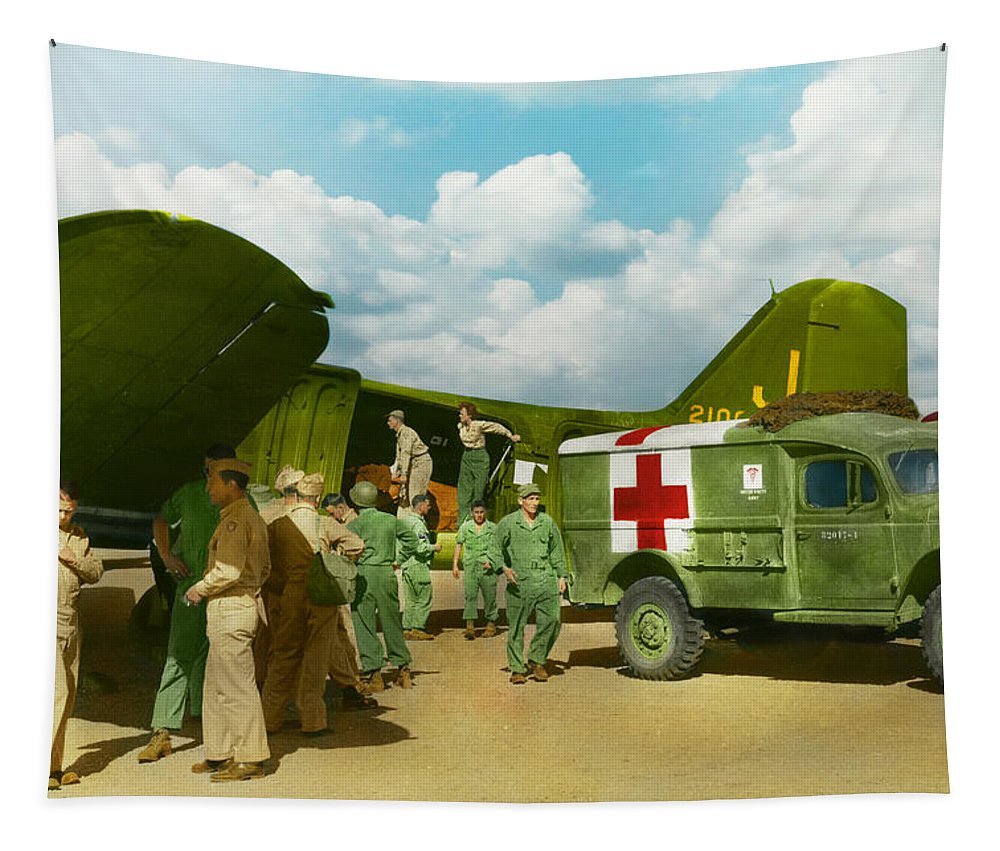 C-47 Tapestry featuring the photograph Doctor - Transferring The Wounded by Mike Savad