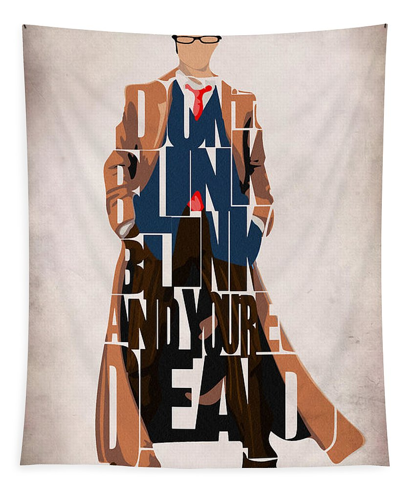 Doctor Who Tapestry featuring the painting Doctor Who Inspired Tenth Doctor's Typographic Artwork by Inspirowl Design
