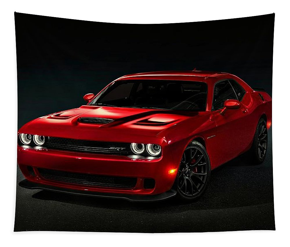 Dodge Tapestry featuring the photograph Dodge Challenger S R T Hellcat by Movie Poster Prints