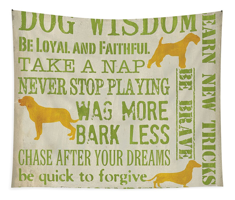 Dog Tapestry featuring the painting Dog Wisdom by Debbie DeWitt