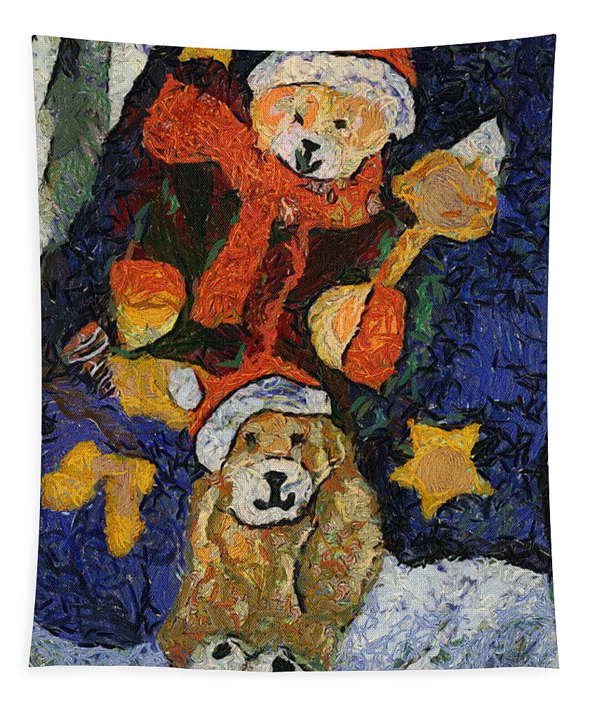Stocking Tapestry featuring the photograph Doggie Xmas Stocking 03 Photo Art by Thomas Woolworth
